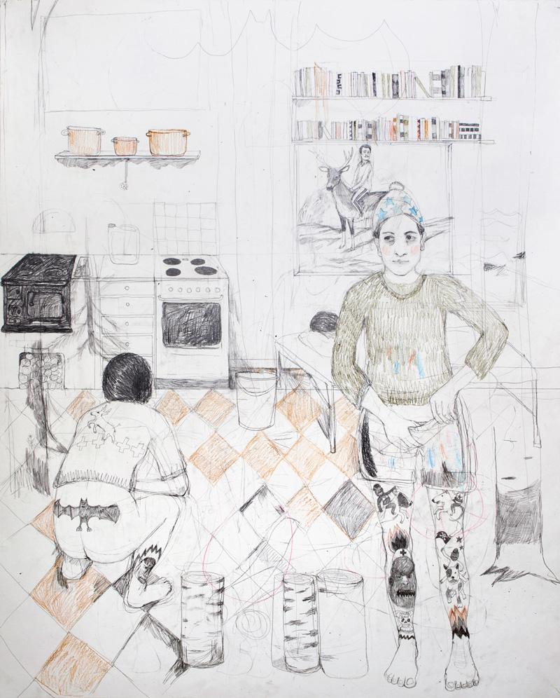 Erika Nordqvist, The Gatherers, 2016, Pencil On Paper, 120x150 Cm