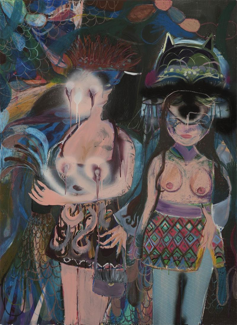 Silvia Argiolas, Dentro Il Locale, 2016, Mixed Media On Canvas, 110×150 Cm