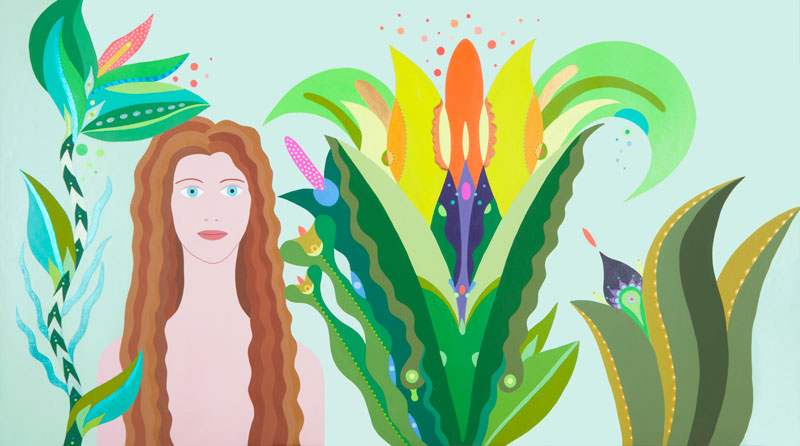 Fulvia Mendini, L'incantatrice, 2016, acrylic on canvas, 69×123 cm