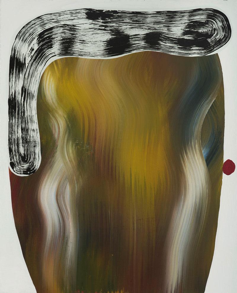 Josh Jefferson, Hunter head, 2016, mixed media on canvas , 51x40 cm
