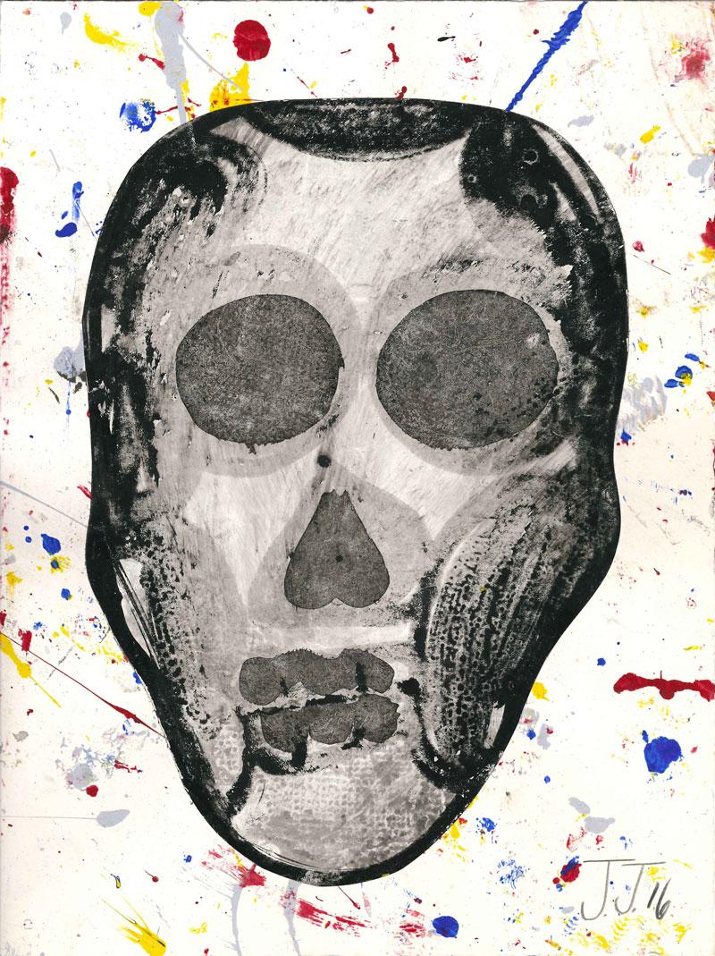 Josh Jefferson, Skull, 2016, collage on paper, 30,5x23 cm