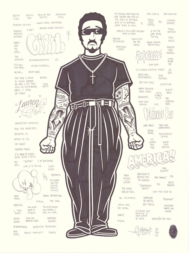Mike Giant, Cholo, 2016, ink on paper, 61x46 cm