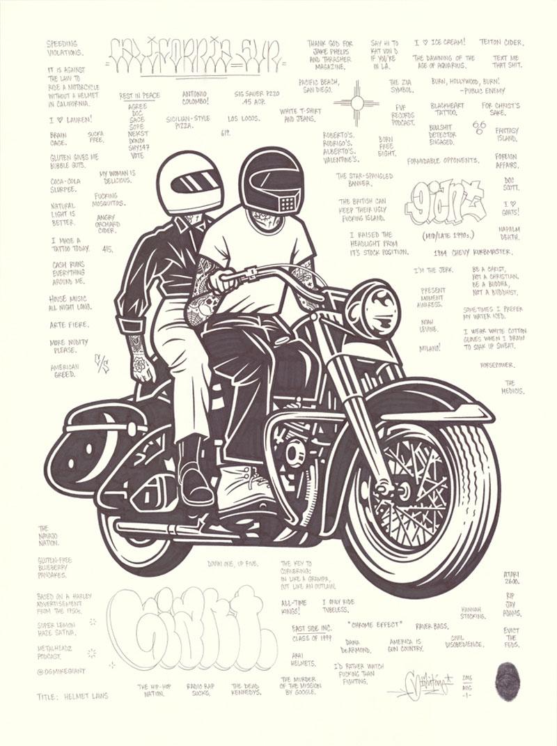 Mike Giant, Helmet Laws, 2016, ink on paper, 61x46 cm