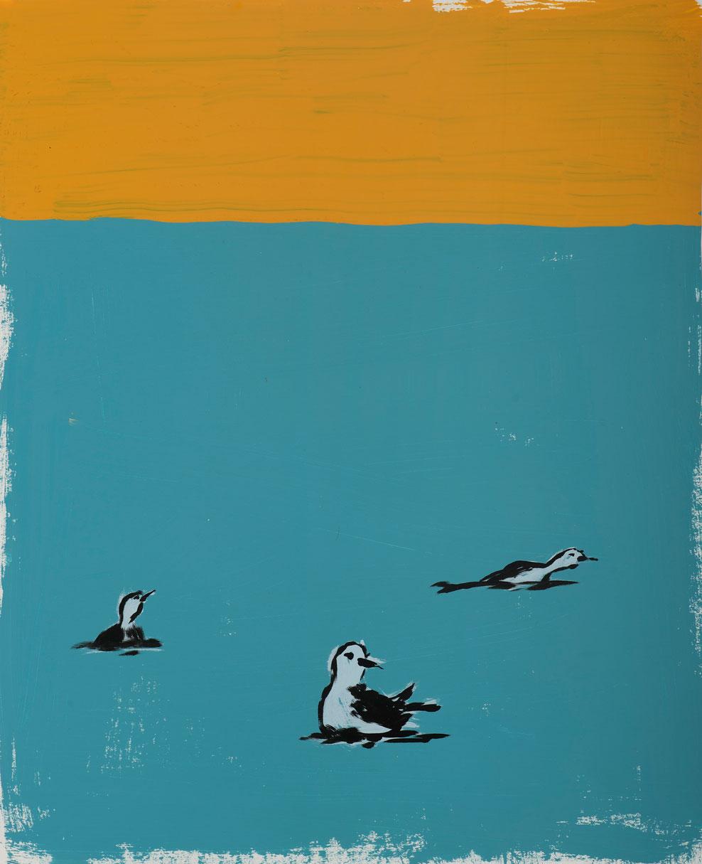 Russ Pope, Bird bros, 2016, acrylic on paper, 56x46 cm