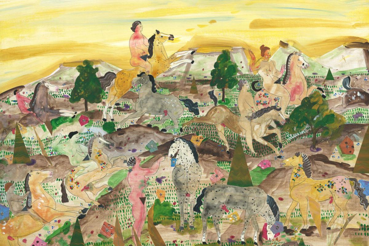 Andrea Heimer The Only Creatureon Gods Green Earth Who Truly Understands A Woman Is A Good Horse 2016 Acrilico E Matita Su Tavola 45×60 Cm
