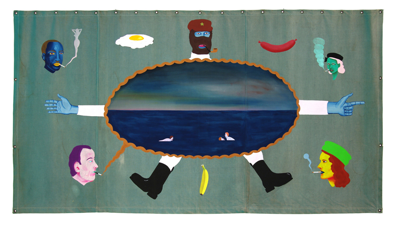 Richard Johansson, Zapatista leader, 2012, vinyl on canvas, 120×260 cm