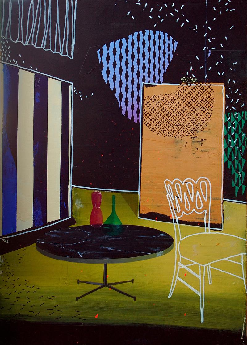 Paolo De Biasi, Facendo finta, 2017, acrylic on canvas, 70×50 cm