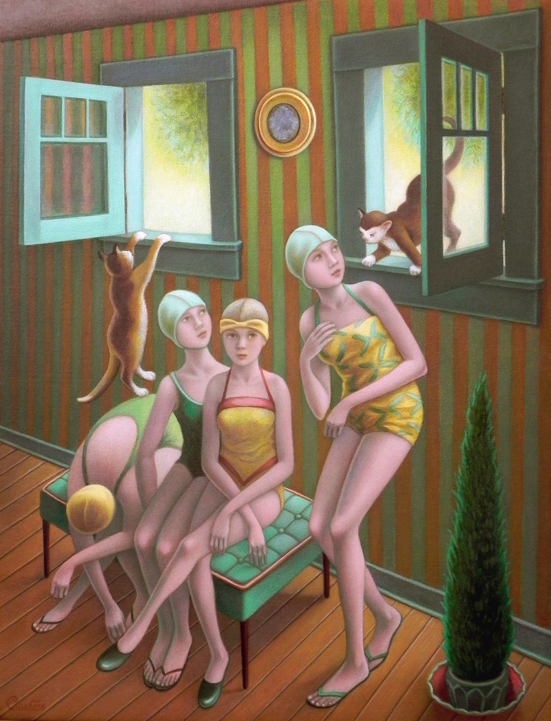 Amy Crehore, Four Bathers and Two Cats, 2016, oil on stretched linen, 35.5×45 cm