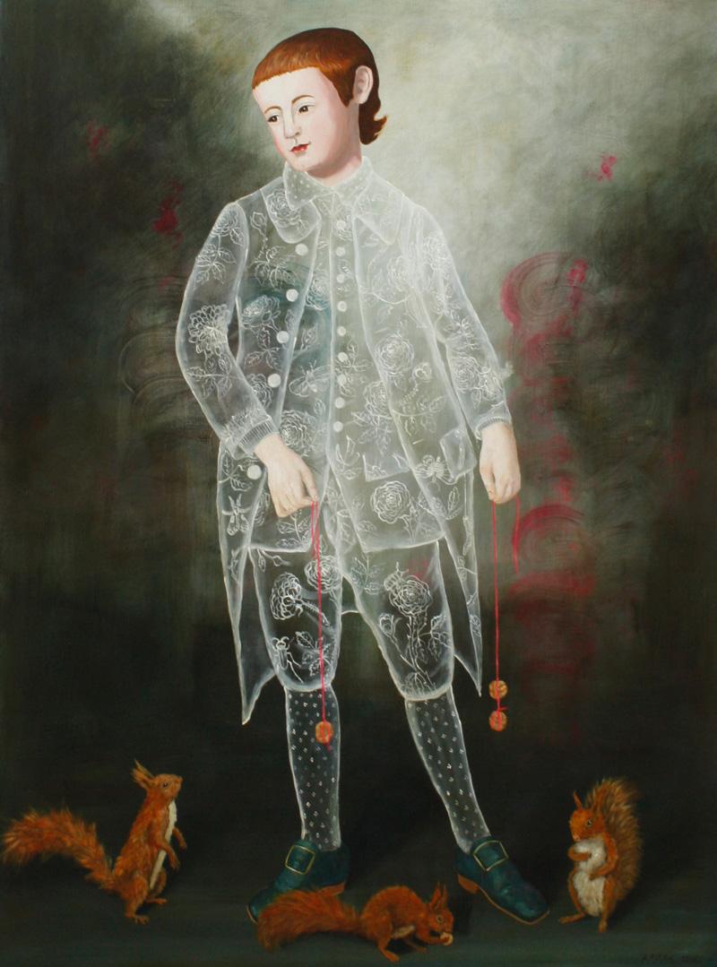 Anne Siems, 3 Squirrel Boy, 2016, acrylic on board, 122×91 cm