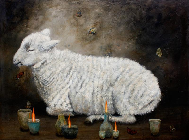 Anne Siems, Lamb, 2016, acrylic on board, 76×101 cm