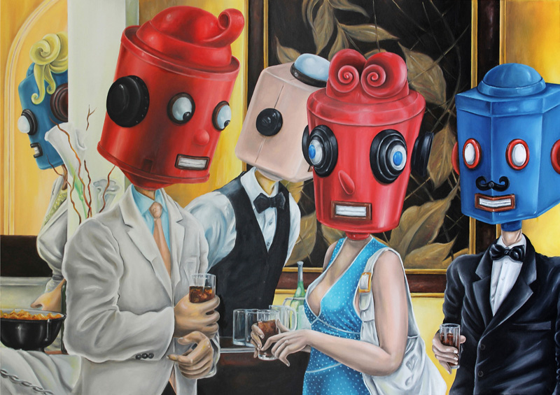 Dast, L'aperitivo, 2013, oil on canvas, 100×80 cm
