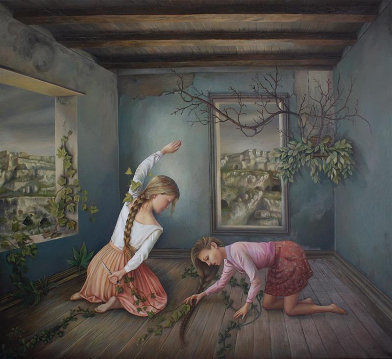 Ilaria Del Monte, E il tempo che si attende, 2017, oil on canvas, 90×100 cm