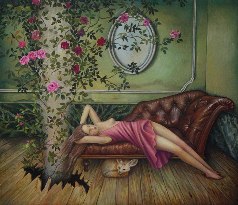 Ilaria Del Monte, La chioma d'Islanda, 2017, oil on canvas, 30×35 cm