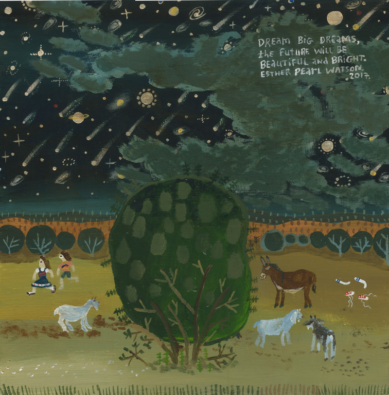 Esther Pearl Watson, Dream Big Dream, 2017, mixed media on board, 25,4×25,4 cm