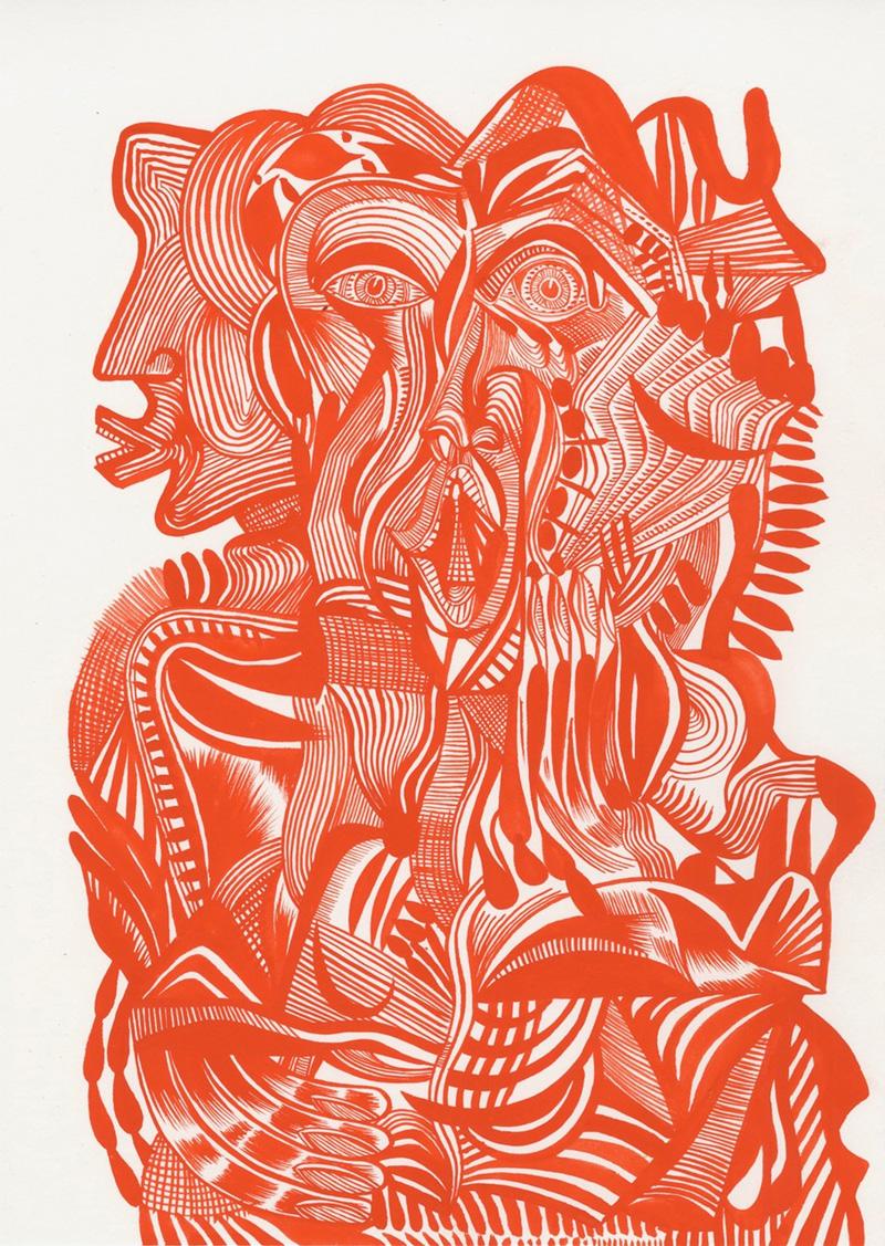 Zio-Ziegler,-Red-Ground-Series-II-(Stone-Age-Gesture),-2017,-watercolor-on-paper,-35x5x25,4-cm