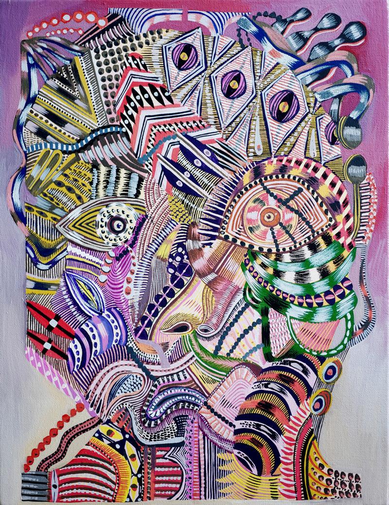 Zio Ziegler, Threshold of Abstraction, 2017, gouache on canvas, 45×35 cm