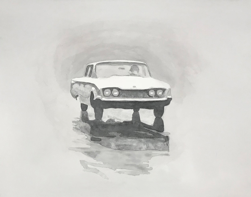 Joshua-Huyser,-a-car-in-the-rain,-watercolor-on-paper,-35.5cm-x-44.5cm,-2018