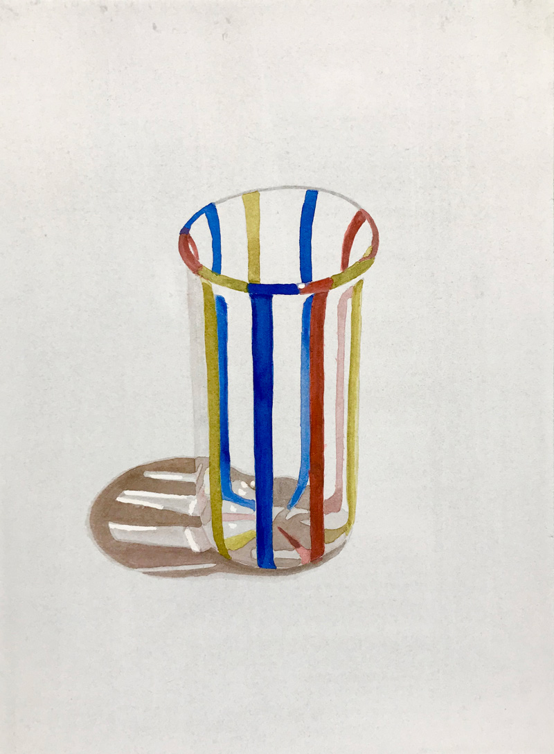 Joshua-Huyser,-hand-blown-glass,-watercolor-on-paper,-38.5cm-x-28cm,–2017