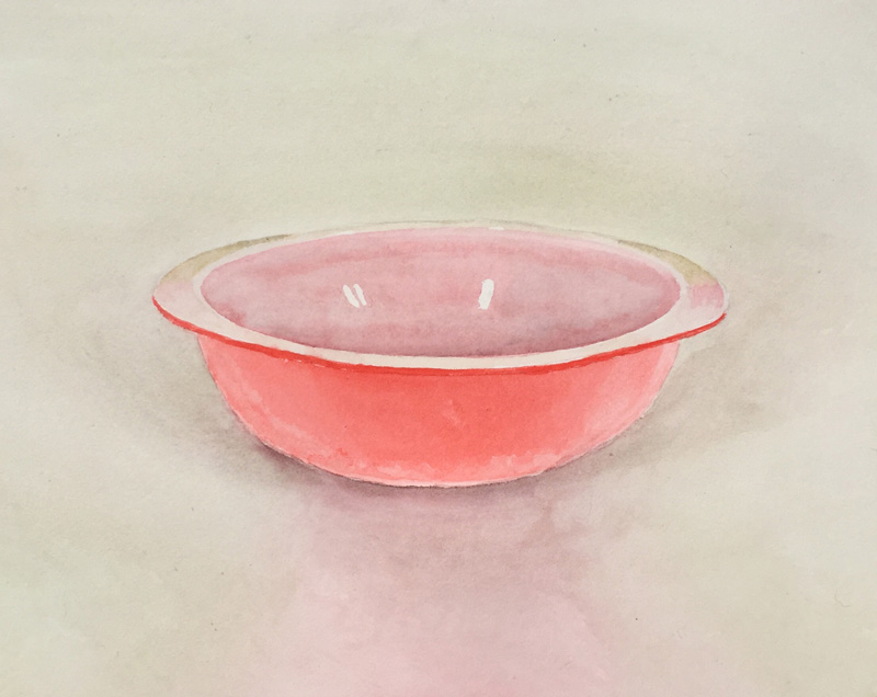 Joshua-Huyser,-red-bowl,-watercolor-on-paper,-28cm-x-38.5cm,-2016