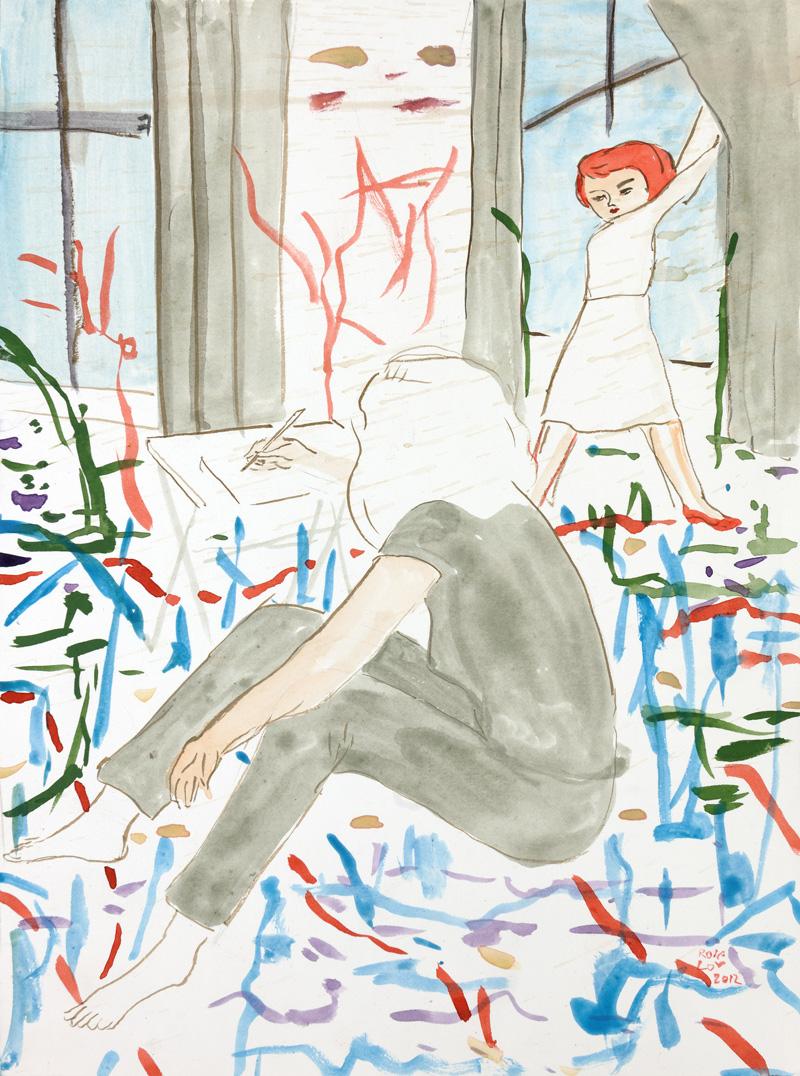Rosa Loy, Erkannt, 2012, mixed media on paper, 31×23 cm