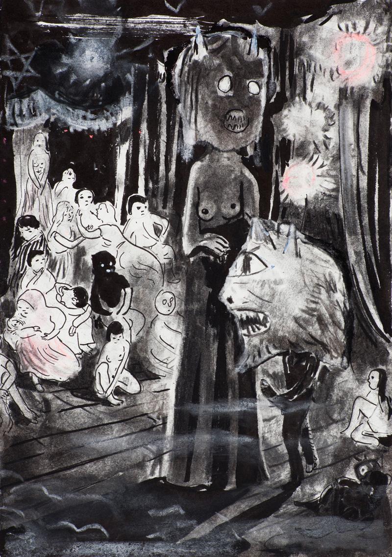 Tilo Baumgärtel, Can Club, 2014, charcoal, ink, pastel on paper, 29x21cm