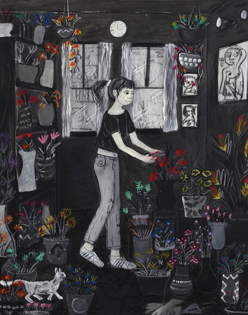 Andrea Fiorino, Cura, 2018, mixed media on canvas, 123×96 cm