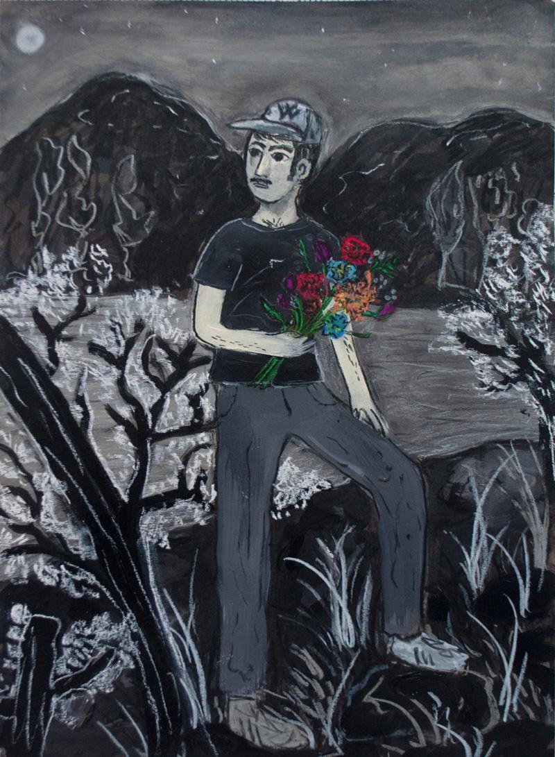Andrea Fiorino, Fiori, 2018, mixed media on paper, 29,5×40,5 cm
