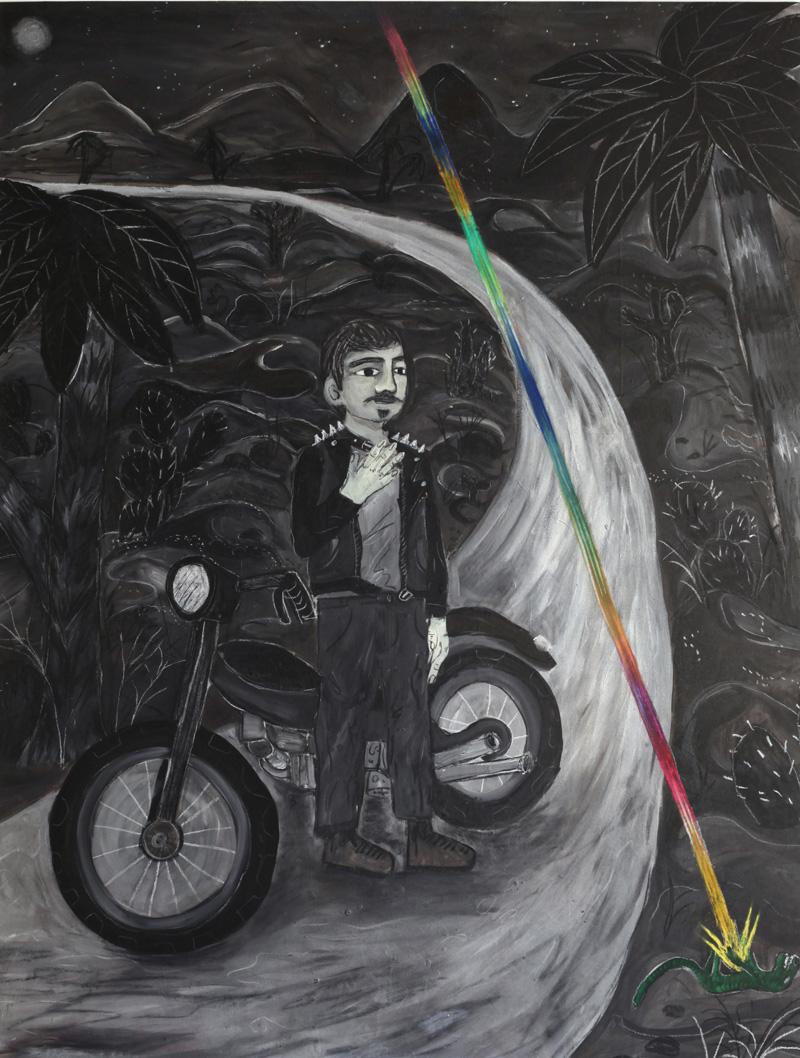 Andrea Fiorino, Giorgio e la lucertola del deserto, 2018, mixed media on canvas, 165×125 cm