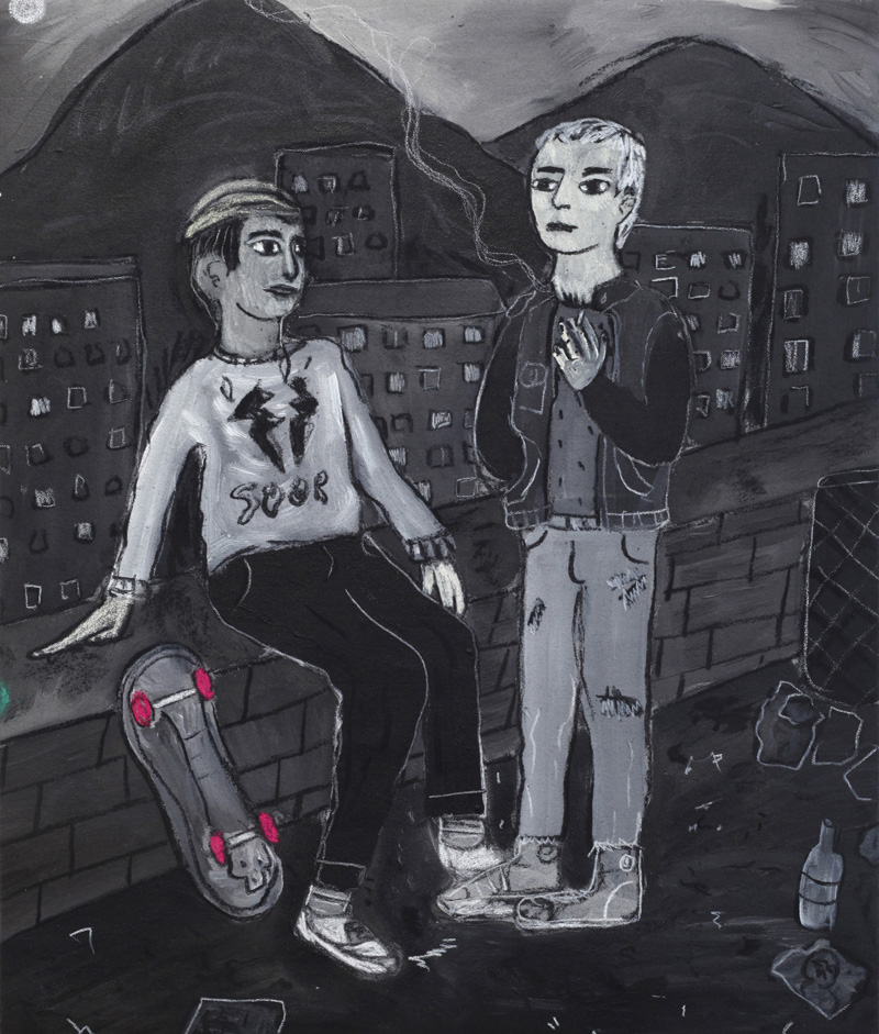 Andrea Fiorino, Il muretto, 2018, mixed media on canvas, 52×44 cm