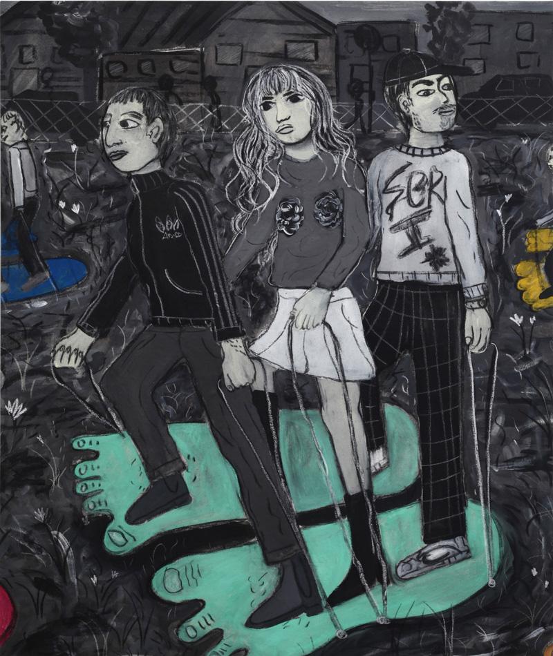 Andrea Fiorino, Impronte di gigante, 2018, mixed media on canvas, 118×98 cm