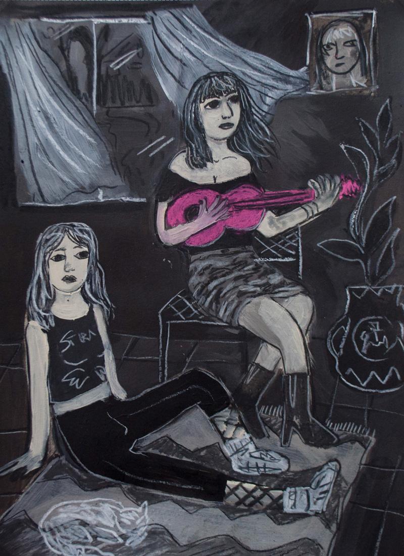 Andrea Fiorino, In casa, 2018, mixed media on paper, 40,5×29,5 cm
