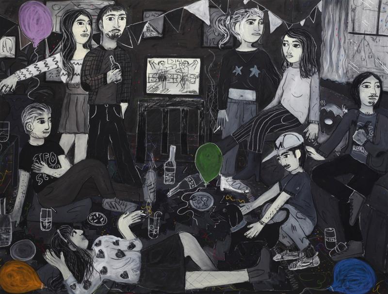 Andrea Fiorino, In un momento condiviso, 2018, mixed media on canvas, 135×178 cm