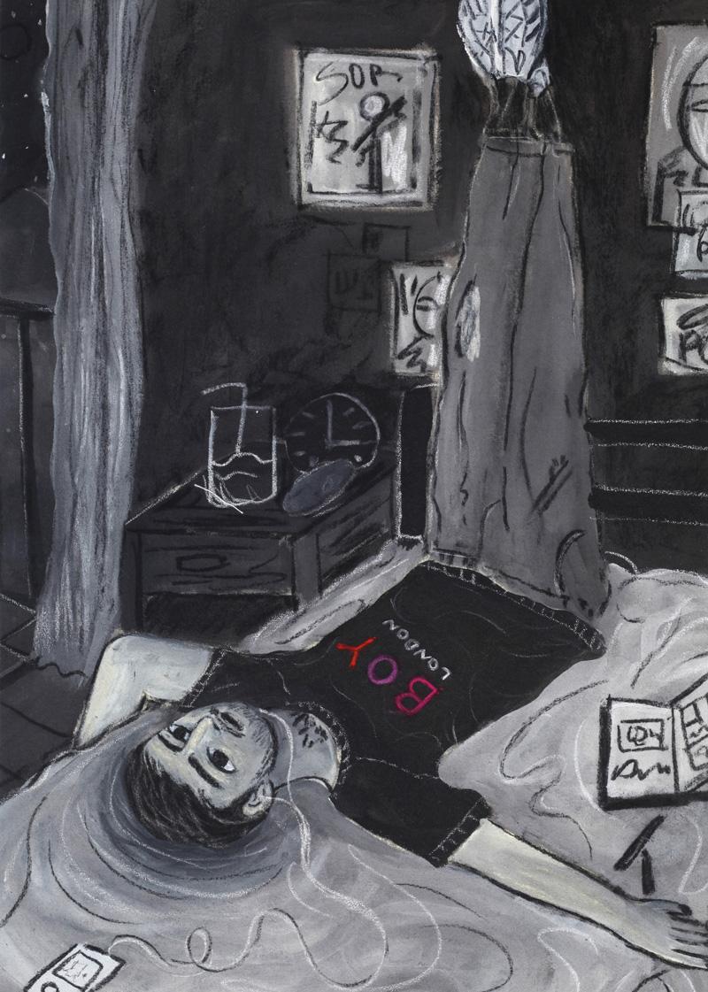 Andrea Fiorino, La stanza, 2018, mixed media on canvas, 65×46 cm
