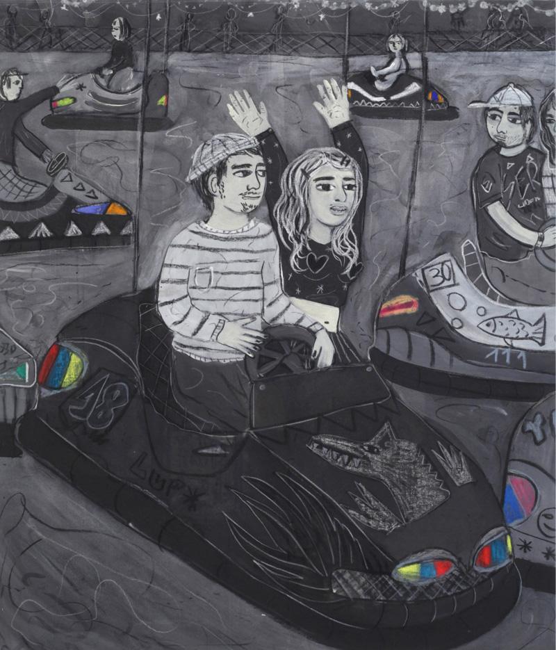 Andrea Fiorino, Macchine a scontro, 2018, mixed media on canvas, 98,5×84 cm