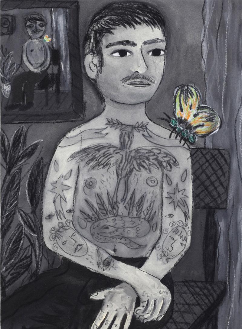 Andrea Fiorino, Pelle scritta, 2018, mixed media on canvas, 55×40 cm