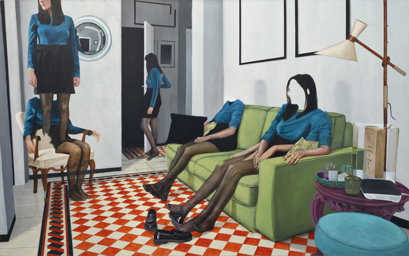 Dario Maglionico, Reificazione #31, 2017, oil on canvas, 90×145 cm