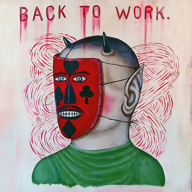 Fred Stonehouse, Back to work, 2017, acrylic on wood, 30,5×30,5 cm