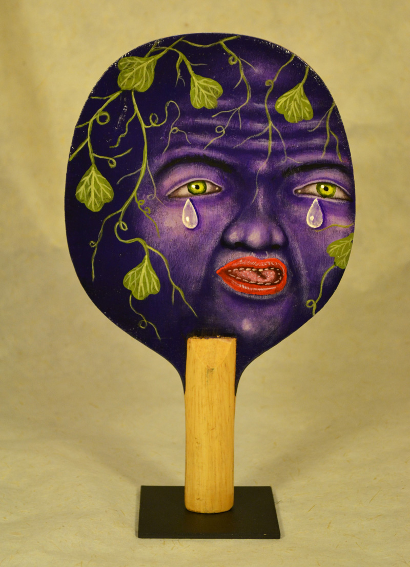 Fred Stonehouse, Grape paddle, 2018, acrylic on vintage ping-pong paddles,  26×16 cm
