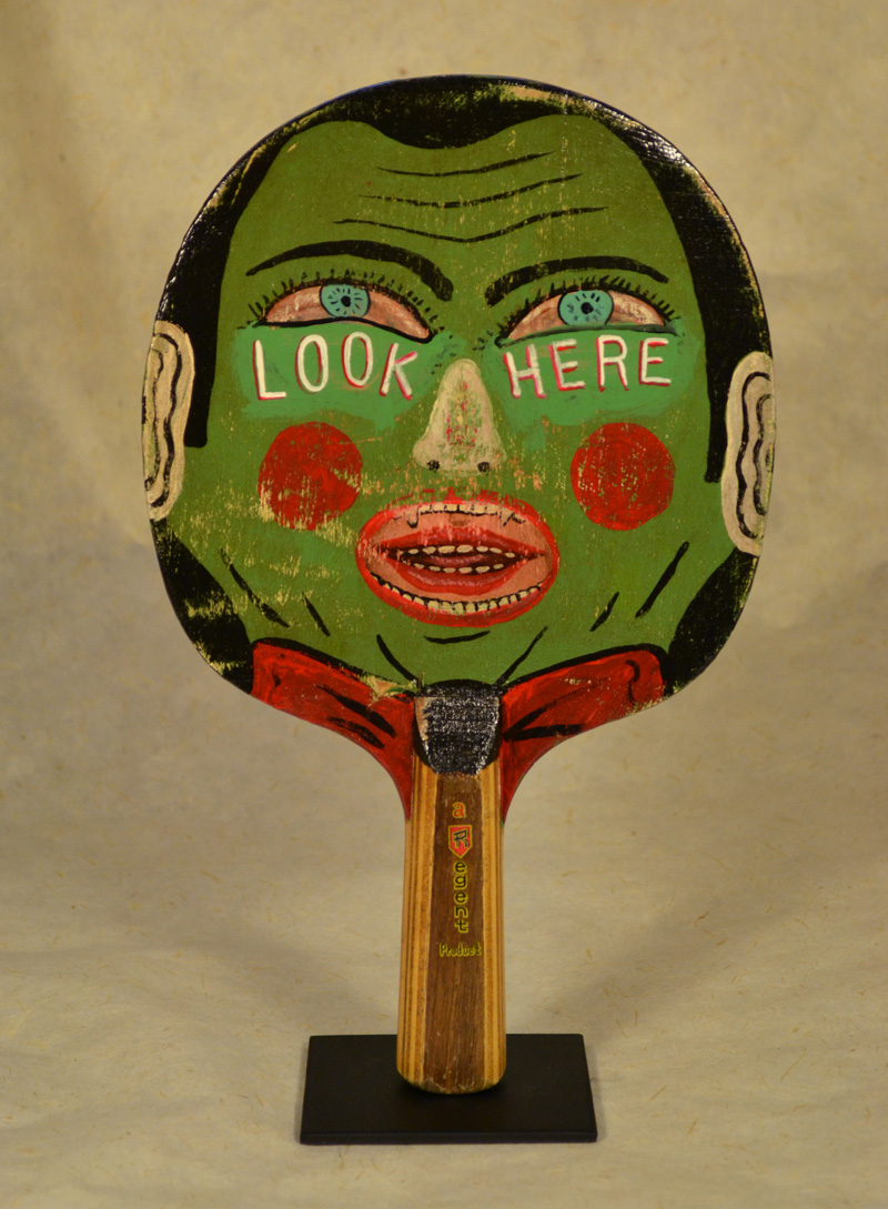 Fred Stonehouse, Look here, 2018, acrylic on vintage ping-pong paddles, 26×16,5 cm