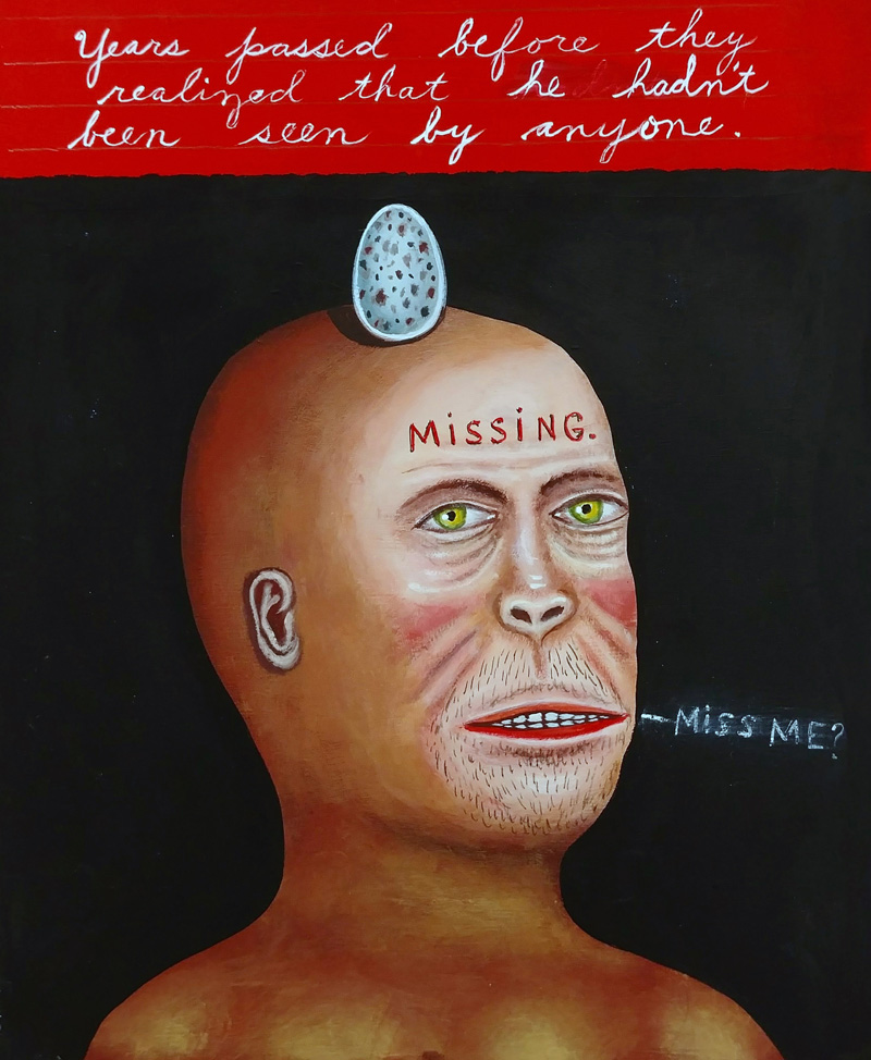 Fred Stonehouse, Missing, 2018, flashe on paper, 25,5×20,3 cm