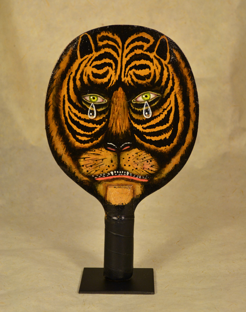 Fred Stonehouse, Tiger paddle, 2018, acrylic on vintage ping-pong paddles,  26×16 cm