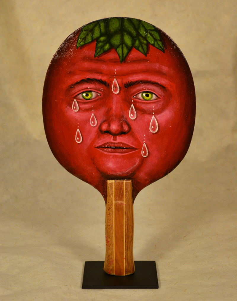 Fred Stonehouse, Tomato paddle, 2018, acrylic on vintage ping-pong paddle, 26×16,5 cm