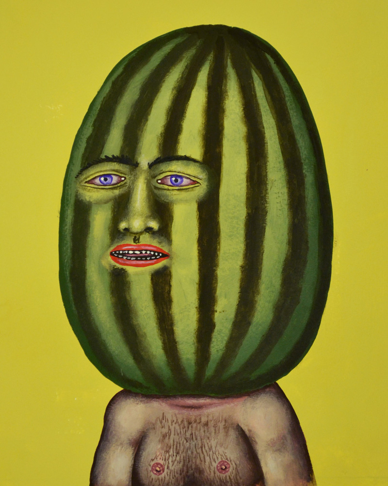 Fred Stonehouse, Watermelon man, 2018, flashe on paper, 25,5×20,3 cm