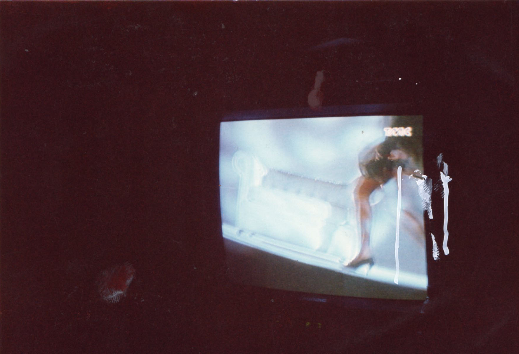 Mario Schifano, Untitled 1315, 1990/1995, mixed media on photograph, 10×15 cm