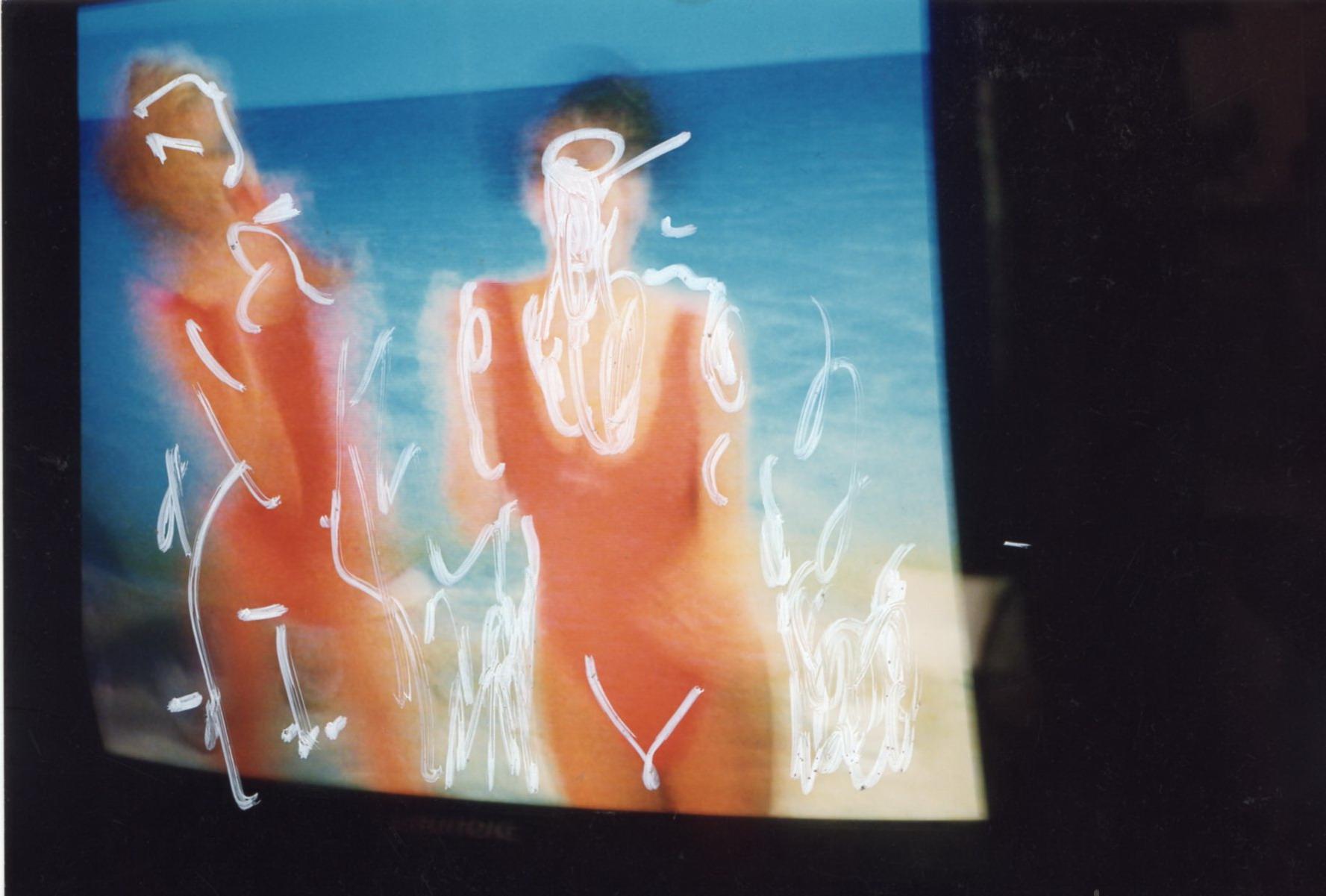Mario Schifano, Untitled 1501, 1990/1995, mixed media on photograph, 10×15 cm