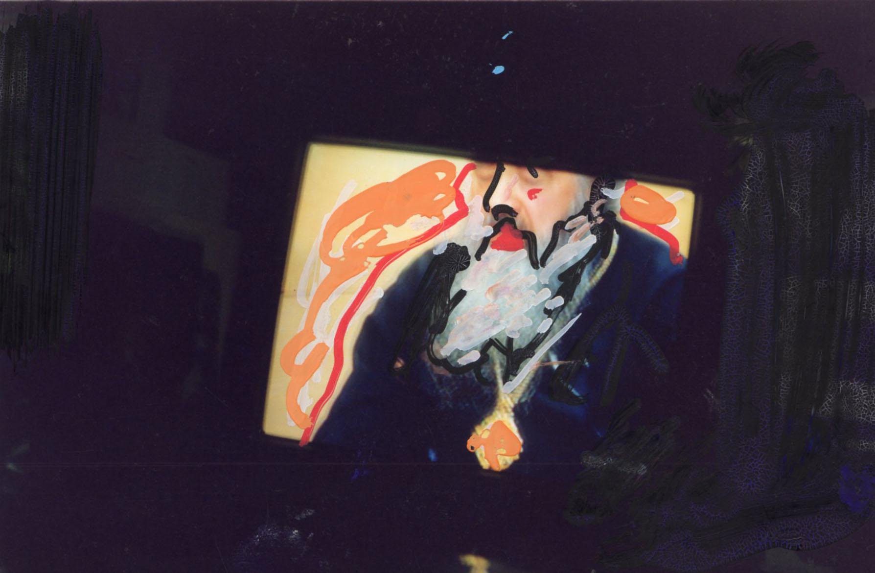 Mario Schifano, Untitled 2020, 1990/1995, mixed media on photograph, 10×15 cm