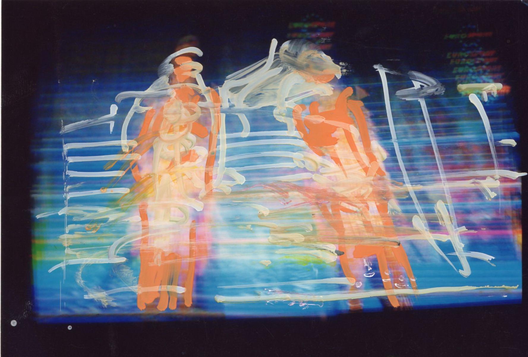 Mario Schifano, Untitled 2112, 1990/1995, mixed media on photograph, 10×15 cm