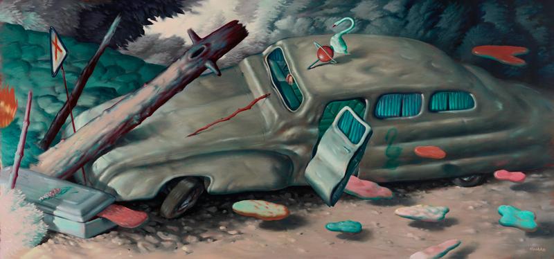 Ryan Heshka, Chromatose, 2018, oil on canvas, 95×200 cm