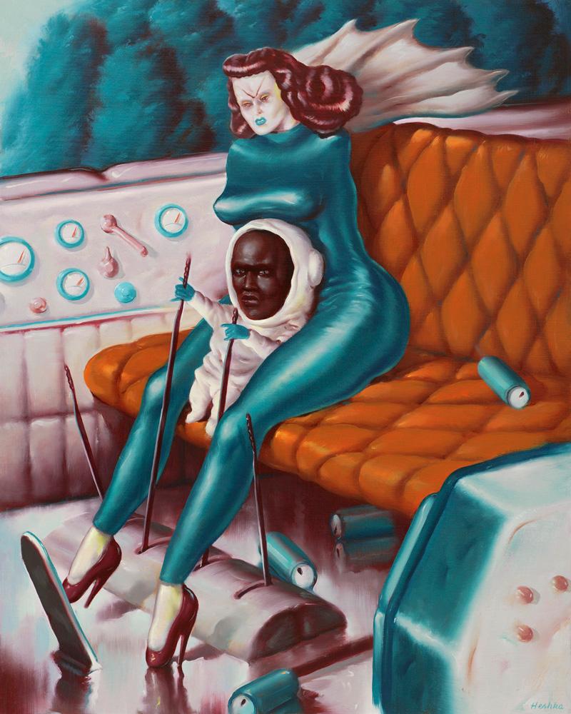 Ryan Heshka, Complete Me,Finish-Them,-2018, oil on cradled wood panel, 50×40 cm