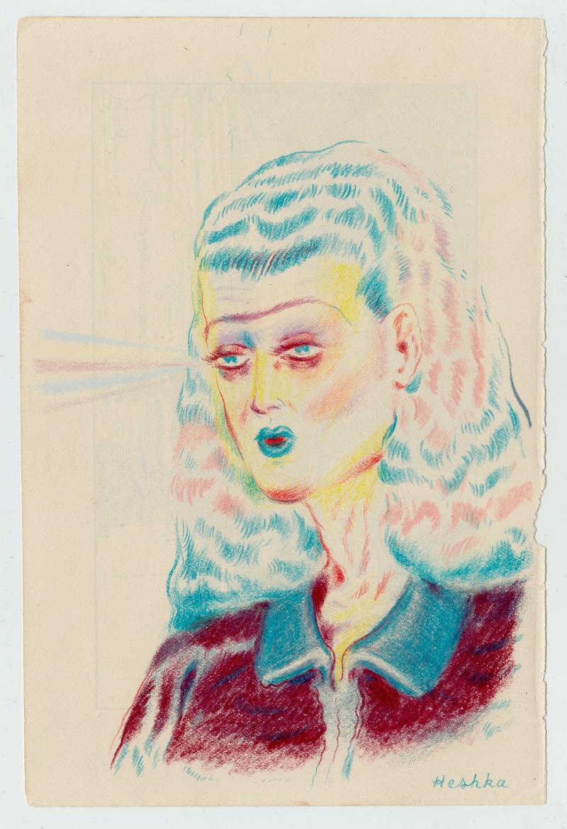 Ryan Heshka, Hypnota, 2018, pencil crayon on paper, 18×12 cm